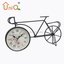 Home decorate metal funny bicycle desk clock