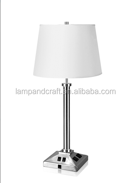 Contemporary Ebony Single Table Lamp With Power Outlet And