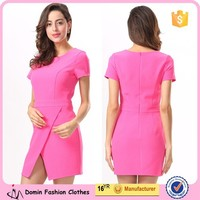 Women Short Sleeve Pocket Asymmetric Dress