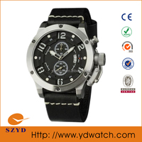 genuine leather sports watch japan movement stainless steel watches