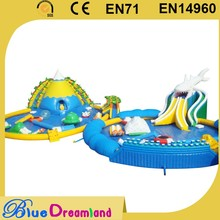 Low price customized size inflatable whale water park with slide