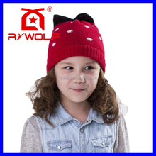 RZWOLF winter plain 100% cotton kids free knitted beanie hat pattern