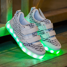 4 Color Unisex Lace Up Trainers Casual Spinning Sneaker Shoes USB Charging LED Flashing Lights Shoe