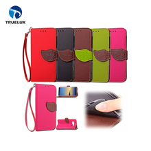 Simple style PU leather flip case for Galaxy note 8, mobile phone lychees pattern leather case