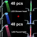 Wholesale Temperature contorl LED Bathroom light flow showerheads and Faucet 48 pcs in a carton
