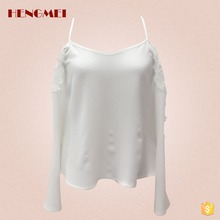 Elegant off shoulder lace crochet patchwork white plain ladies crop top