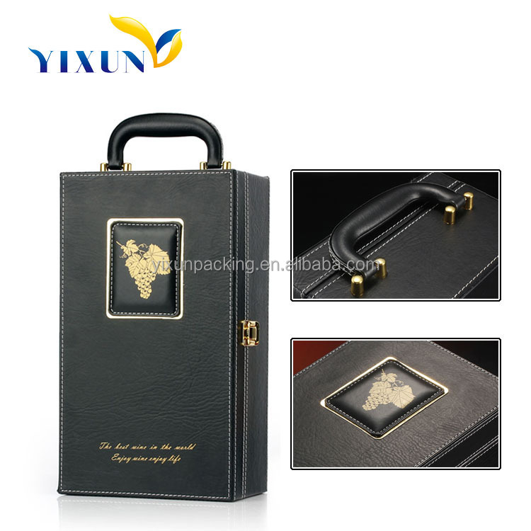 whisky wine leather liquor case wine carrying case