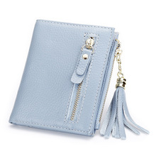 Fashional Hot Seller Women's Top Layer Cowhide Leather Simple Short Tassel <strong>Wallets</strong>