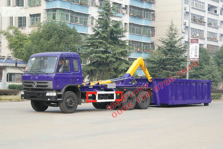 10 Wheels Dongfeng Hook Lift Truck 6*4 Arm Roll Container Refuse Truck