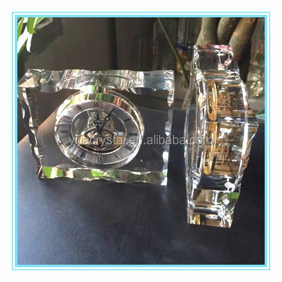clear crystal mechanical clock with silver clock body