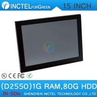 "15"" All in One LED touchscreen POS computers with 2mm ultra-thin panel Intel Atom D2550 Dual Core 1.86Ghz CPU 1G RAM 80G HDD"