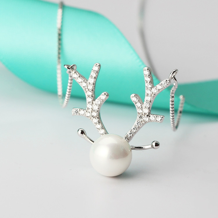 fashion 925 sterling silver ELK pearl pendant necklace
