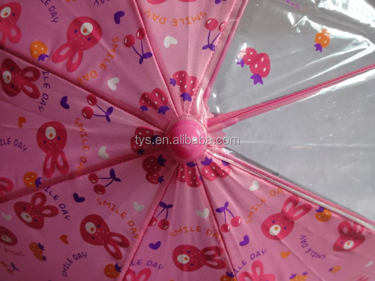 19 Inch Auto Open Children Umbrella With Rabbit Print