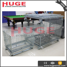 guangzhou factory direct sale folding pallet cage/collapsible bulk containers with shipping container wheels