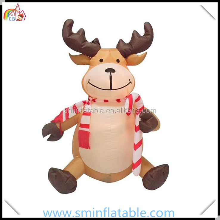 Christmas ornament inflatable reindeer for promotion , animate inflatable sitting reindeer with stick from china supplier