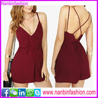 Wine red thin shoulder straps hollow out women fancy dress
