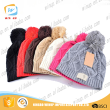 Wholesale fur ball pom pom wool knitted beanie cap women winter hat