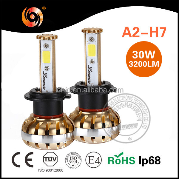 high power led headlight bulbs h7 30W 3200lm IP68 turbo fan cooling high canbus