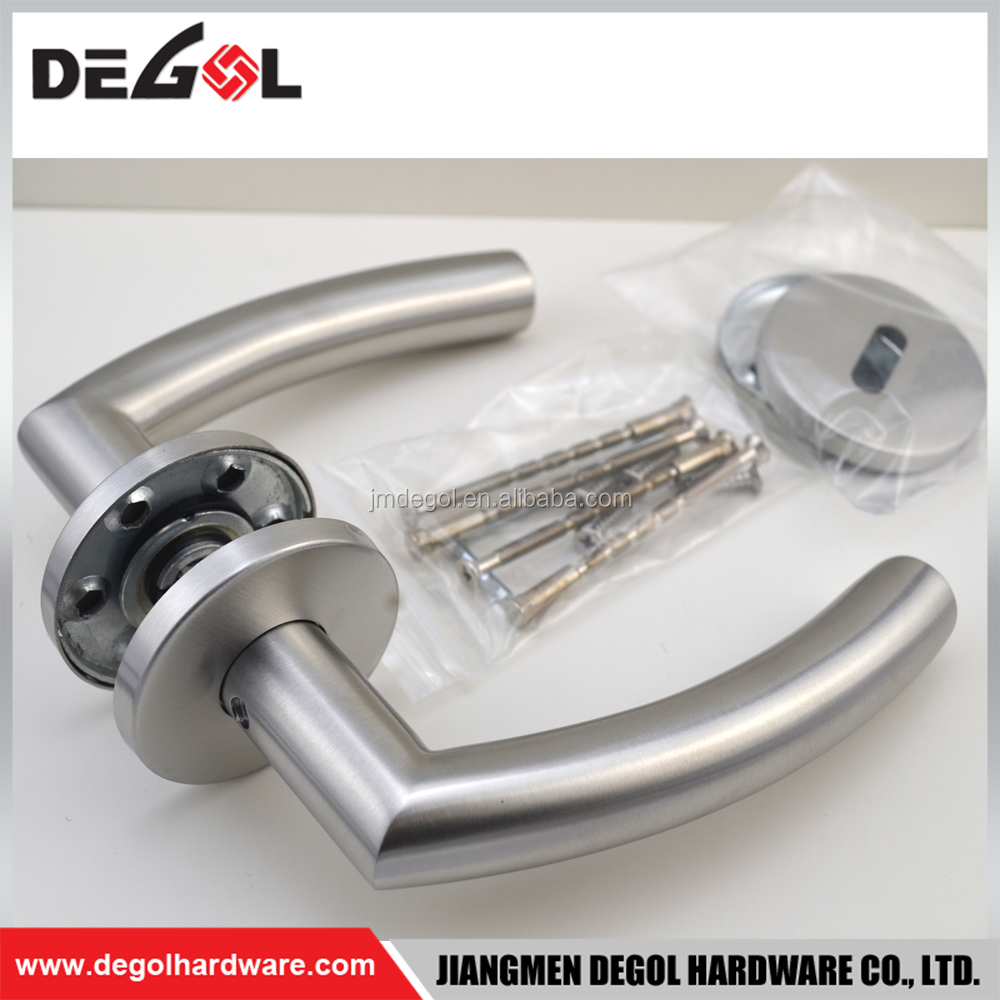 Fancy design double sided stainless steel tube lever residential wooden door handle
