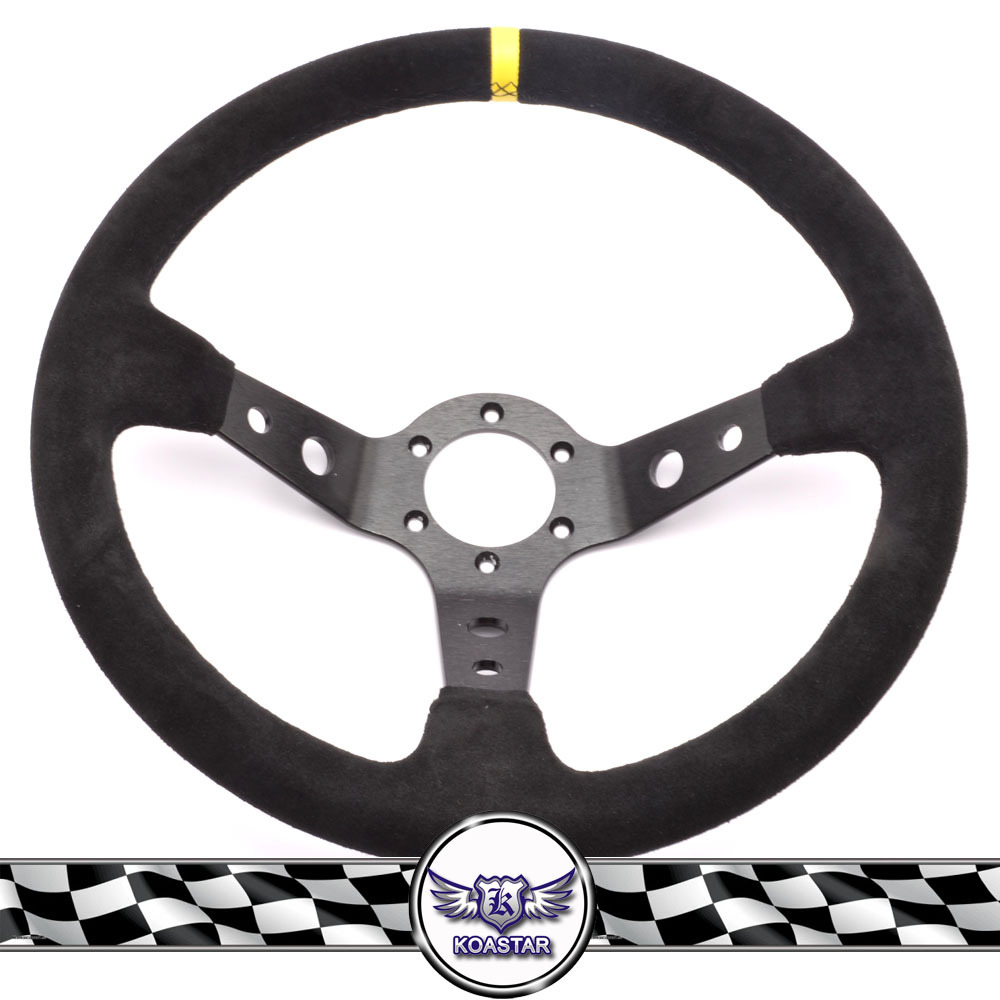 Car Accessories Auto 350mm Deep Corn Rally T Horn Steering Wheel With Black Stitching