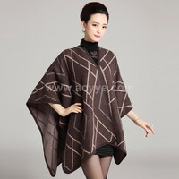 New high quality long knitting stripe stock cardigan shawl