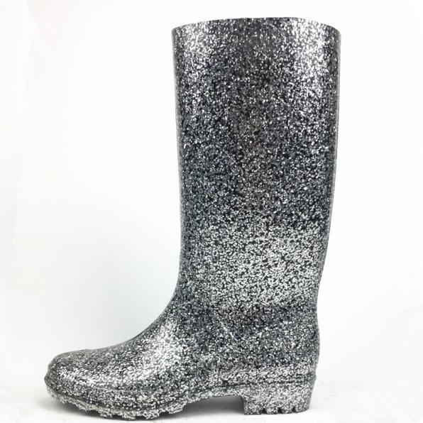 2018 top fashion ladies pvc glitter rain <strong>boots</strong>