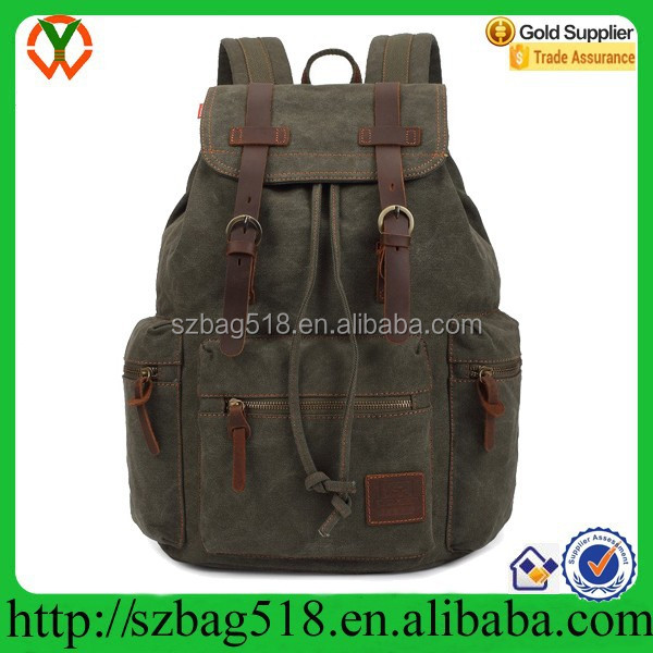 Generic Vintage Men Casual Canvas Leather Backpack military rucksack Bookbag Satchel Hiking Bag