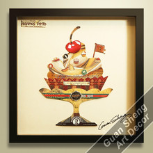ice cream dessert mousse food 3d wall decor for restaurant