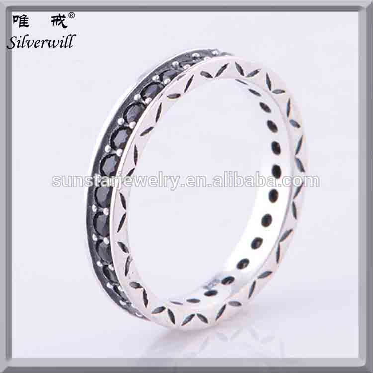 Geniune 925 sterling silver eternity ring with black CZ vintage engagement rings compatible fashion women jewellery