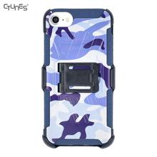 Camouflage Heavy Duty Holster Combo Cell Phone Case With KickStand Belt Clip Cover For iPhone 8