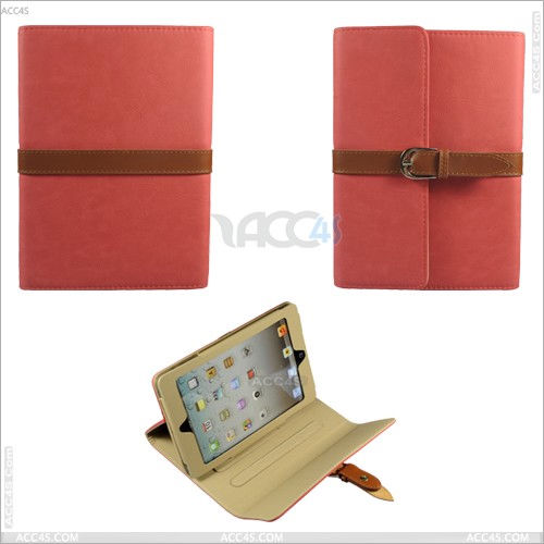 Wallet Style Folio Stand Case Smart Cover Hand Clutch Strap for iPad Mini --- P-iPDMINICASE051
