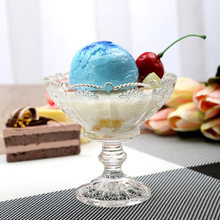 Wholesale cheap custom logo ice cream high-foot milk shake dessert glass candle cup