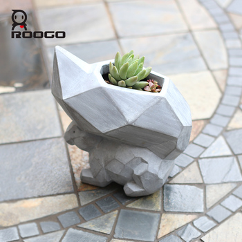 Roogo high quality resin fashion cubism animal bird artificial flower pot for succulent plant