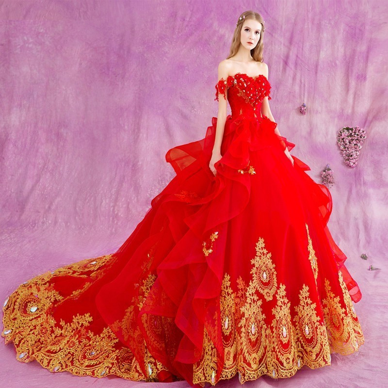 FA76 trajes de novias 2017 rojo gótico vestido de bola princesa ...
