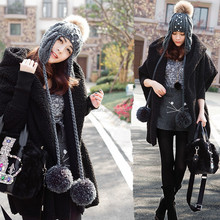 fashion winter knitted raccoon pompom earflap beanie hat with Pearl decorate