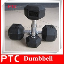 crossfit gym basic equipment, black hex rubber coated dumbell, super gym equipment