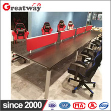 Modern design furniture wood double internet cafe computer table gaming desk
