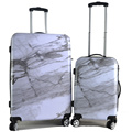 ABS printed white black hard case carry on luggage case set