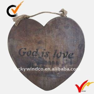 Heart wooden plaque
