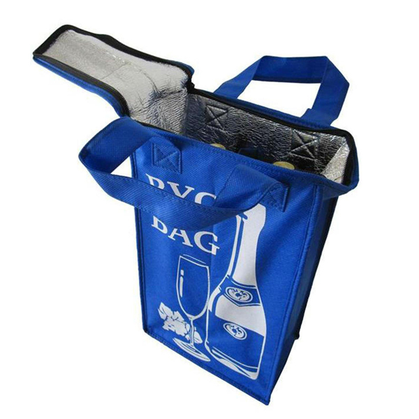 reusable non woven wine bottle bag with zip on the top