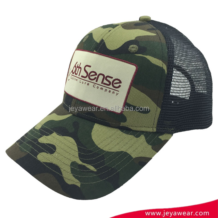 Wholesale Custom woven logo dad hat high quality camo baseball cap and trucker cap snapback hat