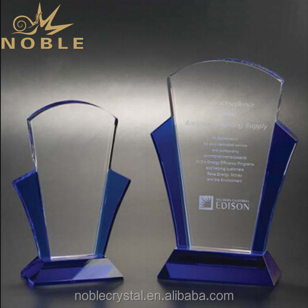 Noble hot selling new design high quality blue crystal custom plaque trophy