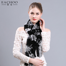 Hot sale mixed Color 20*180 different color rex rabbit fur knitted scarf for women