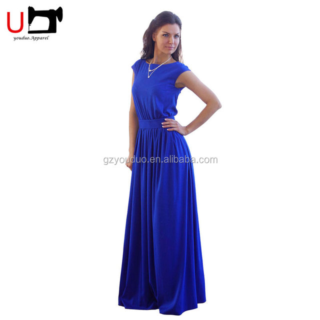 Elegant O Neck Women Flowing Empire Waist Long Chiffon Bridesmaid Designer One Piece Party Evening Dress Woman