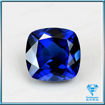 Synthetic Blue Sapphire Square Cushion Checkerboard Cut Loose Gemstone For Jewelry Making