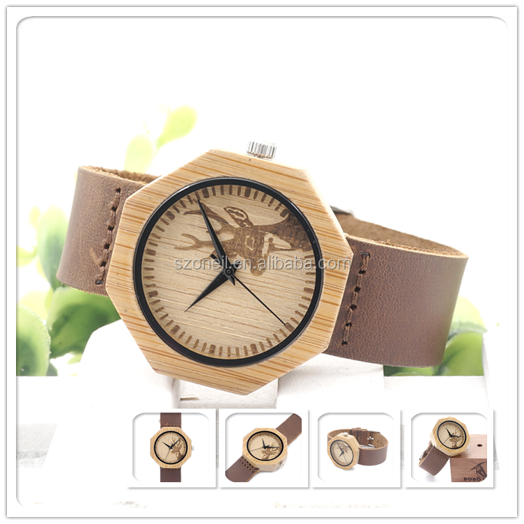 Square wooden face watch for men with brown leather band