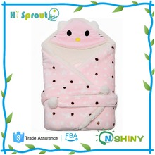 Cute Cat and Pink Color Baby Fleece Swaddle Wrap