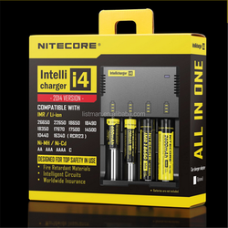 Free shipping nitecore I4 charger 4 channels 3.7v/ 4.2v li-ion battery charger smart NITECORE Multifunction I4 18650 charger