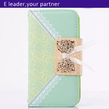 New Bowknot Wallet Card Holder PU Leather Flip Case Cover For iPhone 5 5S