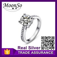 Free sample offered factory price MOONSO s925 silver rings 925silver diamond ring walmart wedding rings KR212S